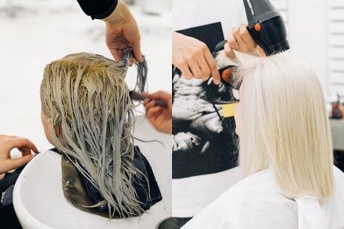 Nhuộm tóc màu bạch kim đòi hỏi phải bảo trì thường xuyên