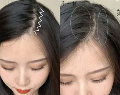 Rẽ ngôi tóc hình zig zag