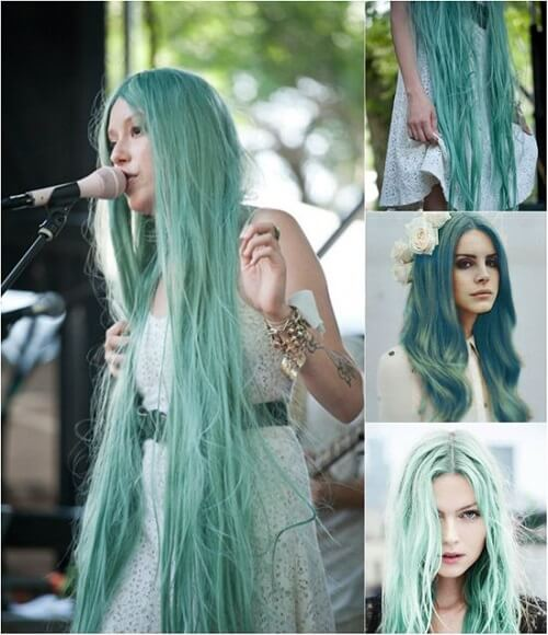 Tóc màu xanh rêu trẻ trung