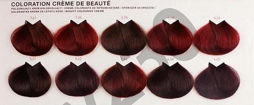 Bảng màu tóc nhuộm đỏ tím