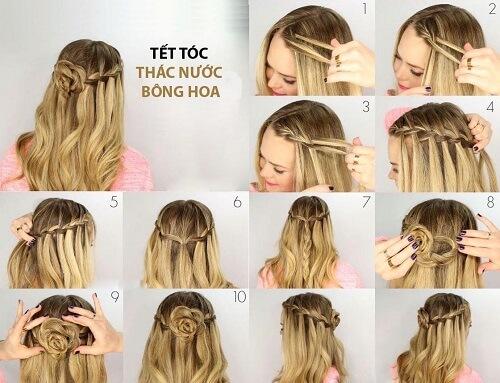 Tết tóc thác nước hình bông hoa độc lạ khiến bạn trở nên thu hút