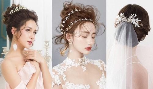 Kiểu tết tóc đẹp cô dâu búi cao mang lại vẻ kiêu sa hiện đại
