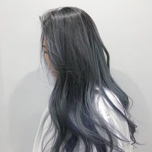 Tóc dài màu xám khói