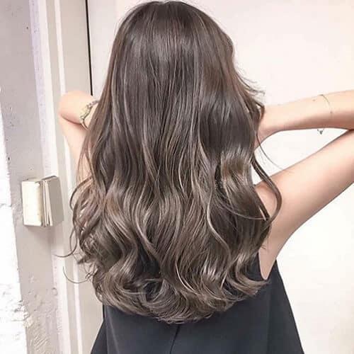 Tóc dài lọn nhỏ màu xám khói