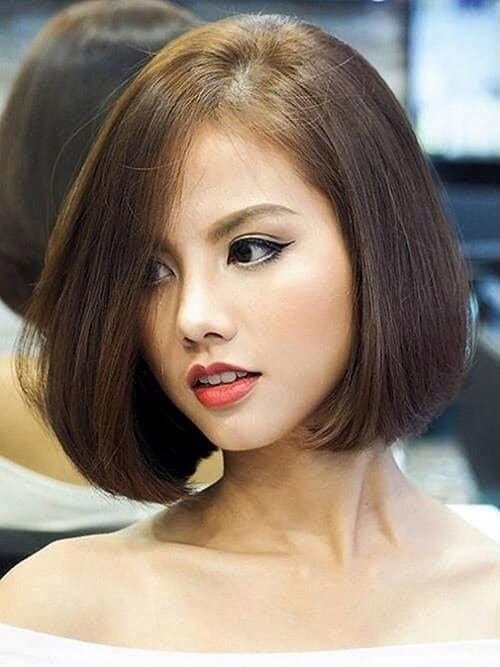 Tóc ngắn uốn cụp mái dài