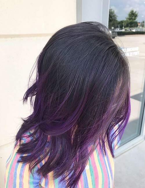 Tóc nhuộm ombre đen - tím