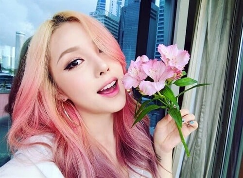 Tóc ombre hồng cam