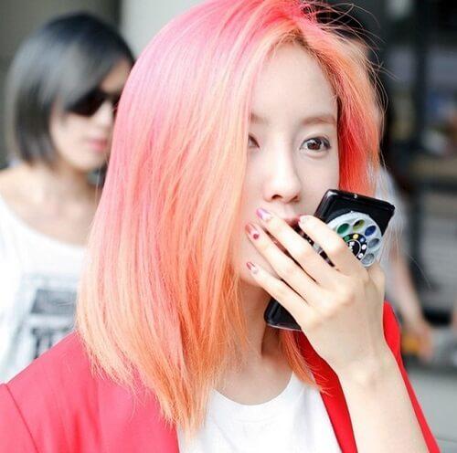 Màu tóc hồng cam
