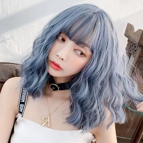 Tóc màu khói xanh dương