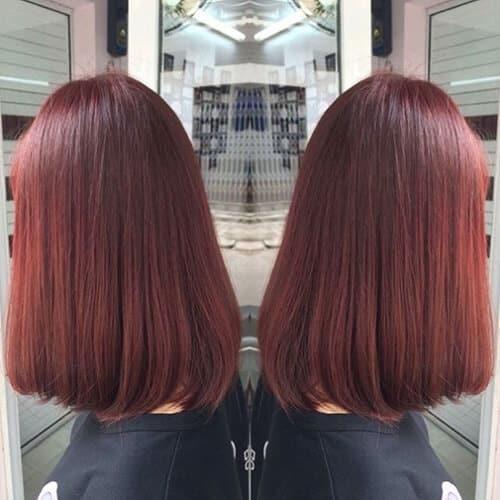 Tóc nữ màu nâu đỏ