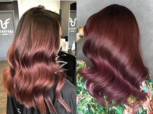 Tóc uốn nhuộm màu nâu đỏ