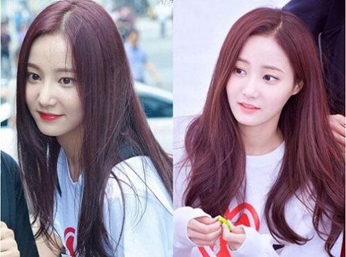 Tóc màu nâu đỏ ánh tím