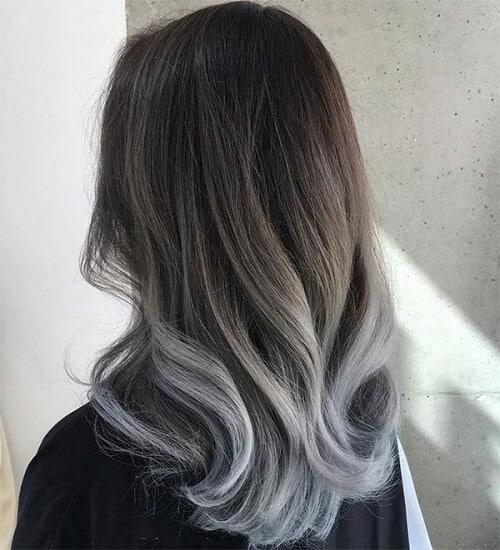 Tóc màu nâu lạnh ombre xám khói