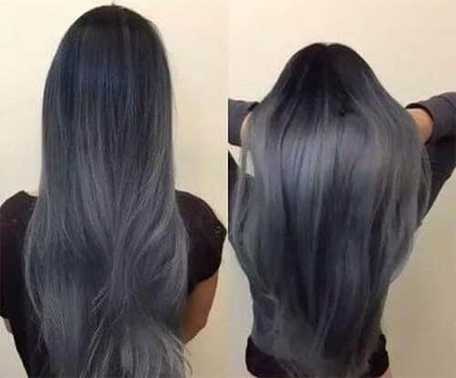 Tóc màu xanh đen ánh khói