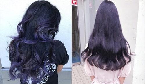 Tóc màu xanh tím đen