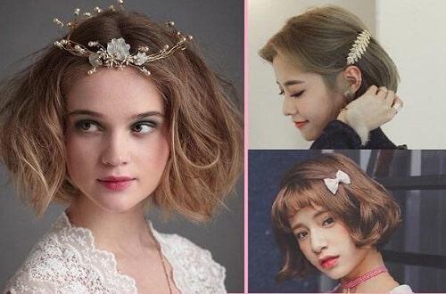 Dùng nơ, bờm hoặc kẹp đính đá ngọc trai để tạo nổi bật trên mái tóc