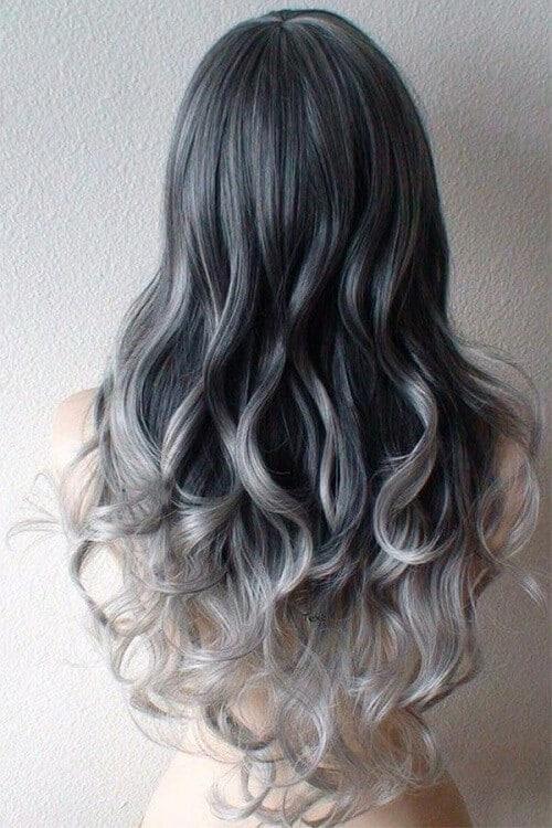 Tóc màu than chì ombre