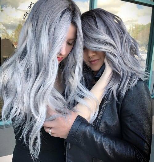 Kiểu tóc màu than chì đẹp: Than chì Ombre