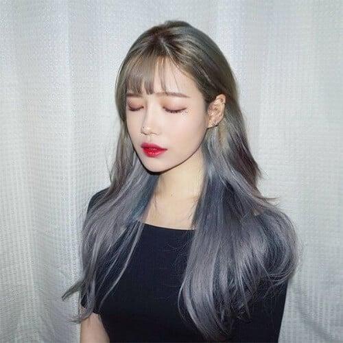 Tóc màu than chì ánh xanh