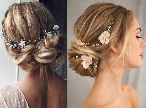 Tóc cô dâu búi thấp